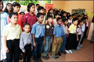 Children singing the National Anthem