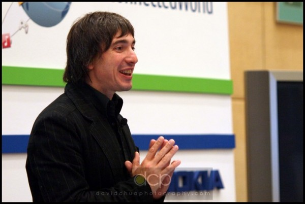 Chief Designer giving a talk